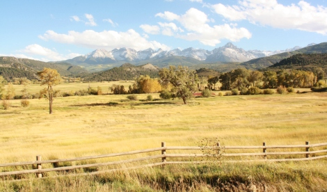the Sneffels Range, with Mt. Sneffels at center, as seen from Ralph Laurens ranch