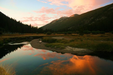 sunset over the Lyell Meadows
