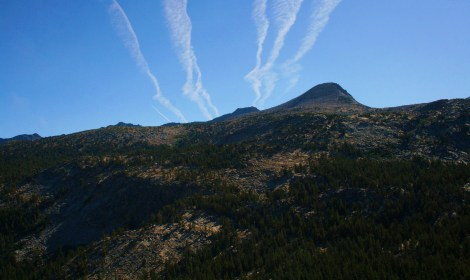 contrails over Yosemite's high country