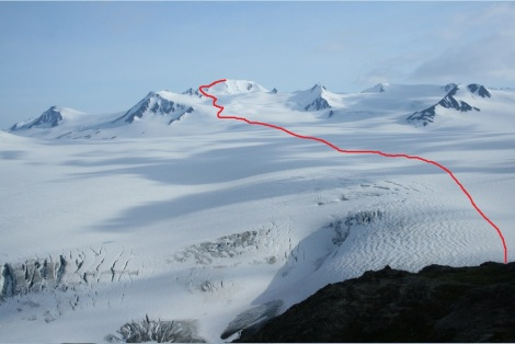 my route across the icefield to the top of the Grand Dandini
