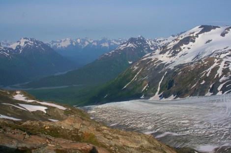 Exit Glacier flows down towards the Resurrection River Valley