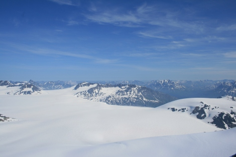 view back to camp, across the icefield, as seen from the Dandini