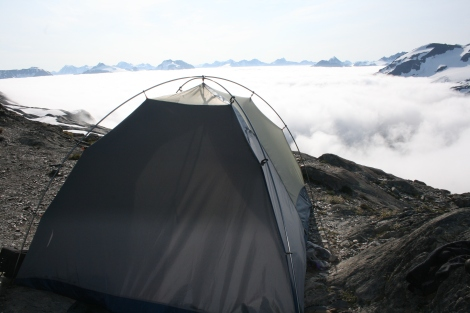 camp above the clouds in the Kenai Mountains