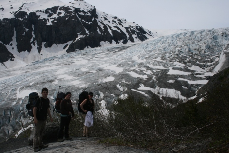 the gang stops for a rest, with Exit Glacier in distance