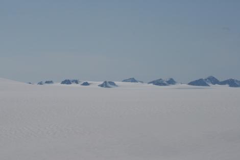 nunataks dot the icefield, like islands in the sea