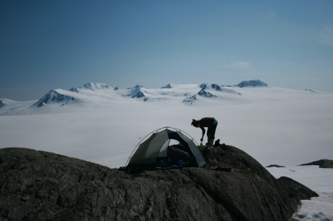 setting up camp overlooking the Harding Icefield