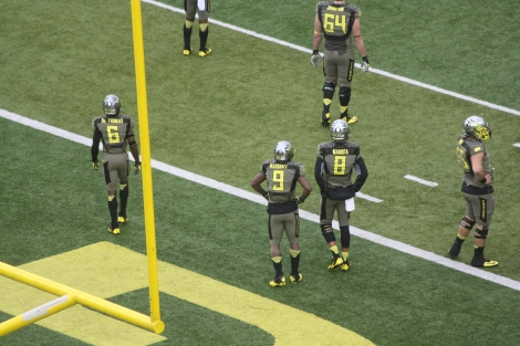 Oregon stars Marcus  Mariota (#8) and DeAnthony Thomas (#6)- they will be playing in the NFL someday