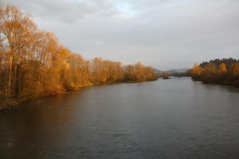 sunset over the Willamette River- Eugene