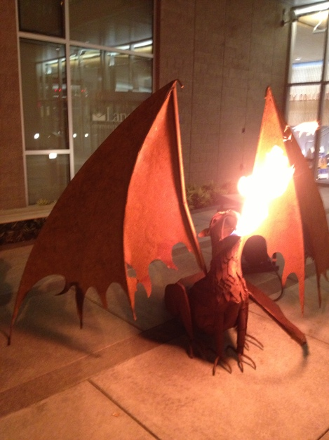 fire-breathing dragon- downtown Eugene