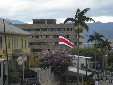 Costa Rica's flag in San Jose