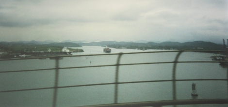 crossing the Bridge of Americas over the Panama Canal