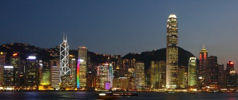 view to Hong Kong in evening light, from a Star Ferry cruising Victoria Harbor
