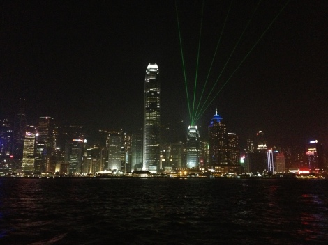 start of the nightly Hong Kong light show, where the skyscrapers shoot lasers at each other