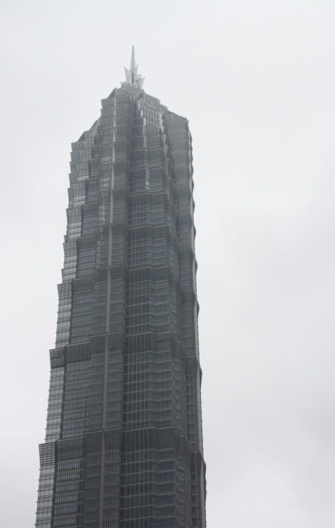 the pagoda-like Jin Mao Tower- 1,300 feet tall
