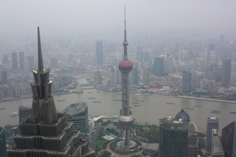 view to the Oriental Pearl Tower and the Huangpu River, from the top of the Shanghai World Financial Tower
