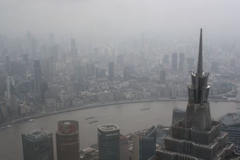 view from the Shanghai World FC- look at all that air pollution...