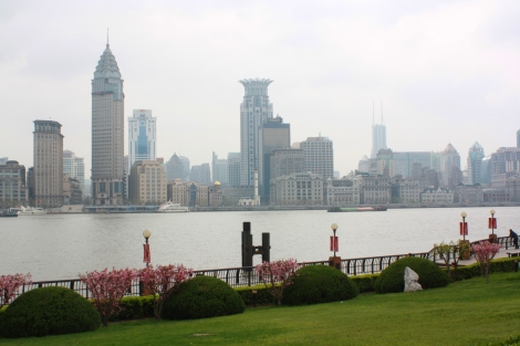 view across the Huangpu River to the Bund, from Pudong. Shanghai