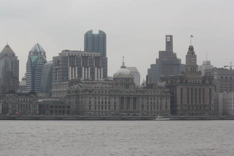 view across the Bund- the old historic section of Shanghai