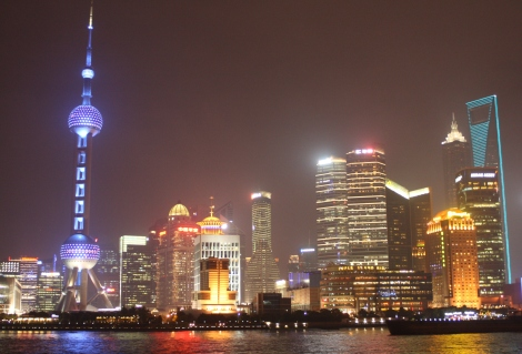 view to Pudong at night, from the Bund