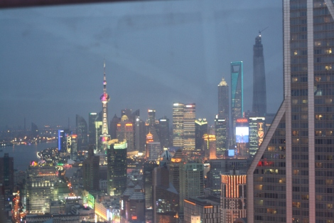 view of Shanghai at night, from the bar at the Radisson Hotel