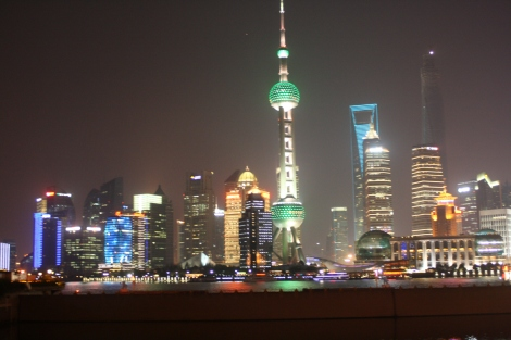Pudong at night, as seen from the Bund. Shanghai