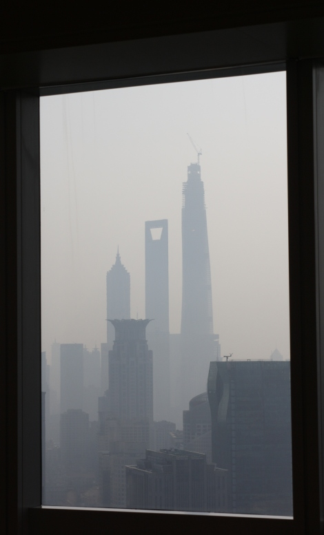 1,2,3...Shanghai's tallest towers as seen from the JW Marriott hotel in the Tomorrow Square Tower