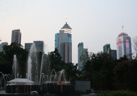 Hong Kong's towers at dusk, from Zoological and Botanical Gardens