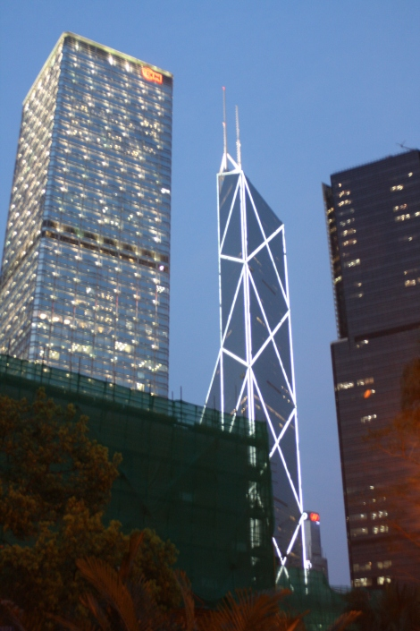 the stand-out Bank of China building (center)- 1,001 feet high. Hong Kong